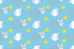 Naadloze patroonstip met schapen en wolken Stock Afbeeldingen