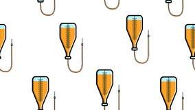 Naadloze patroontextuur van eindeloze het herhalen medische gele druppelbuisjes met een naald en een catheter in het ziekenhuis o stock illustratie