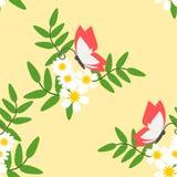 Naadloze patroonvector van mooie witte bloem en vlinder royalty-vrije illustratie