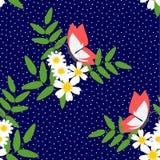 Naadloze patroonvector van mooie witte bloem en vlinder vector illustratie