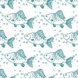 Naadloze patroonvissen toppositie Vector Royalty-vrije Illustratie