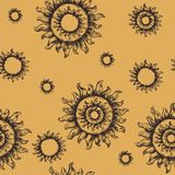 Naadloze patroonzon Het symbool van de zon Stock Afbeelding