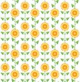 Naadloze patroonzonnebloemen op wit. Royalty-vrije Stock Afbeeldingen