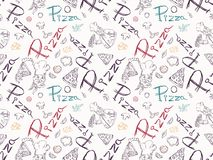 Naadloze pattern_1_illustration, contour die op het thema van Italiaanse pizzakeuken trekken, voor decoratie en de stijl van de o vector illustratie