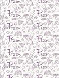 Naadloze pattern_2_illustration, contour die op het thema van Italiaanse pizzakeuken trekken, voor decoratie en de stijl van de o royalty-vrije illustratie