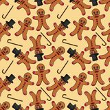 Naadloze pattern_1_illustration van de peperkoekmens in een cilinder Stock Illustratie