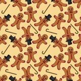 Naadloze pattern_1_illustration van de peperkoekmens in een cilinder Stock Illustratie