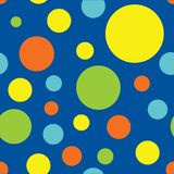 Naadloze Polka Dot Pattern Background in Blauwe, Turkooise, Groen, Geel en Oranje Kalk royalty-vrije illustratie