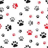Naadloze pootdruk Sporen van Cat Textile Pattern Het naadloze patroon van de kattenvoetafdruk Naadloze vector EPS10 stock illustratie