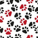 Naadloze pootdruk Sporen van Cat Textile Pattern Het naadloze patroon van de kattenvoetafdruk Naadloze vector royalty-vrije illustratie