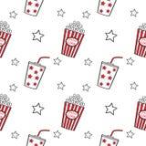 Naadloze popcorn en drank, Stock Afbeelding