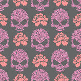 Naadloze pttern van de bloemschedel Schedel van roze bloemen en rozen Stock Foto