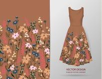 Naadloze rand Grens met Kruiden en wilde bloemen, bladeren Botanische Illustratie Kleurrijke illustratie op kledingsmodel Royalty-vrije Stock Fotografie