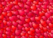 Naadloze realistische hartenachtergrond Liefde, hartstocht en de dagconcept van de Valentijnskaart Royalty-vrije Stock Afbeeldingen