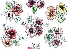 Naadloze reeks gekleurde boeketten lush Stock Afbeelding