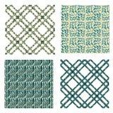 Naadloze reeks geometrische die patronen met motieven worden geplaatst van Stock Afbeeldingen
