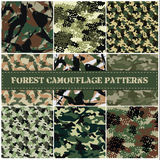 Naadloze reeks van de vector van het camouflagepatroon Stock Fotografie