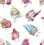Naadloze reeks van grappige Cupcakes royalty-vrije illustratie