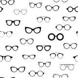 683a1a6bd6e5e0 Naadloze retro glazen Zonnebril zwarte silhouetten Het pictogram van oogglazen  Vector illustratie stock illustratie