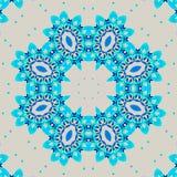 Naadloze retro ornament turkooise blauw en lichtgrijs stock illustratie