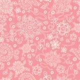 Naadloze retro roze bloemenachtergrond, vector Royalty-vrije Illustratie