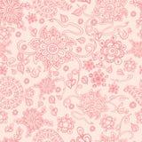Naadloze retro roze bloemenachtergrond, vector Stock Illustratie