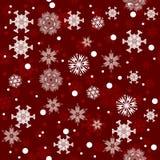 Naadloze rode het patroonachtergrond van de wintersneeuwvlokken Stock Afbeelding