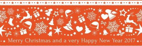 Naadloze rode Kerstmis Stock Afbeeldingen