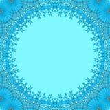 Naadloze ronde lichtblauwe die exemplaarruimte met azuurblauw kantpatroon wordt ontworpen stock illustratie