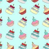 Naadloze room cupcake en cakepatroon royalty-vrije illustratie