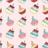 Naadloze room cupcake en cakepatroon vector illustratie
