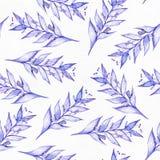 Naadloze rooster grote illustratie met blauwe en purpere die installaties, op rubberplant en van Liana vorm worden gebaseerd, die Stock Afbeelding