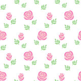 Naadloze roze rozen met bladerenpatroon op witte achtergrond Stock Afbeeldingen