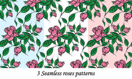 3 naadloze rozenpatronen Royalty-vrije Stock Foto