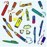 Naadloze schets van onderwijs doddle elementen  Stock Afbeeldingen