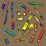 Naadloze schets van onderwijs doddle elementen  Royalty-vrije Stock Afbeelding