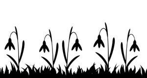Naadloze silhouetgras en bloemen Stock Afbeeldingen