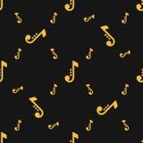 Naadloze silhouetten van muzieknotenpatroon over zwarte achtergrond Stock Afbeelding