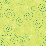 Naadloze Spiralen Dots Green Background Abstract Pattern 1 Royalty-vrije Stock Afbeelding