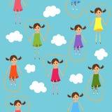 Naadloze springende meisjes Royalty-vrije Stock Foto