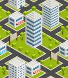 Naadloze stad als achtergrond isometrisch Stock Afbeelding