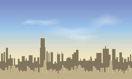 Naadloze Stad Silhouetten van van lange gebouwen tegen de blauwe hemel vector illustratie