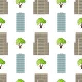 Naadloze stadsachtergrond met moderne huizen en groene bomen Stock Foto