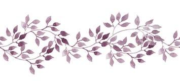 Naadloze streepbanner - hand geschilderde watercolour bladeren Herhaald patroon vector illustratie