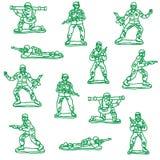 Naadloze vecorstuk speelgoed militairen Royalty-vrije Stock Foto's