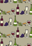 Van de wijn Naadloze tegel als achtergrond in de Stijl van het Beeldverhaal Stock Foto's