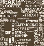 Naadloze tegel als achtergrond van van koffiewoorden en symbolen illustratie royalty-vrije illustratie
