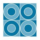 Naadloze tegel met blauwe cirkels Stock Afbeeldingen