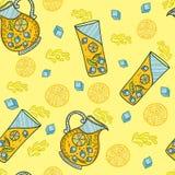 Naadloze textuur Kruik limonade met ijsblokjes en glas limonade Stock Fotografie