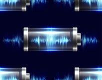Naadloze textuur met batterijen met elektrische last stock illustratie